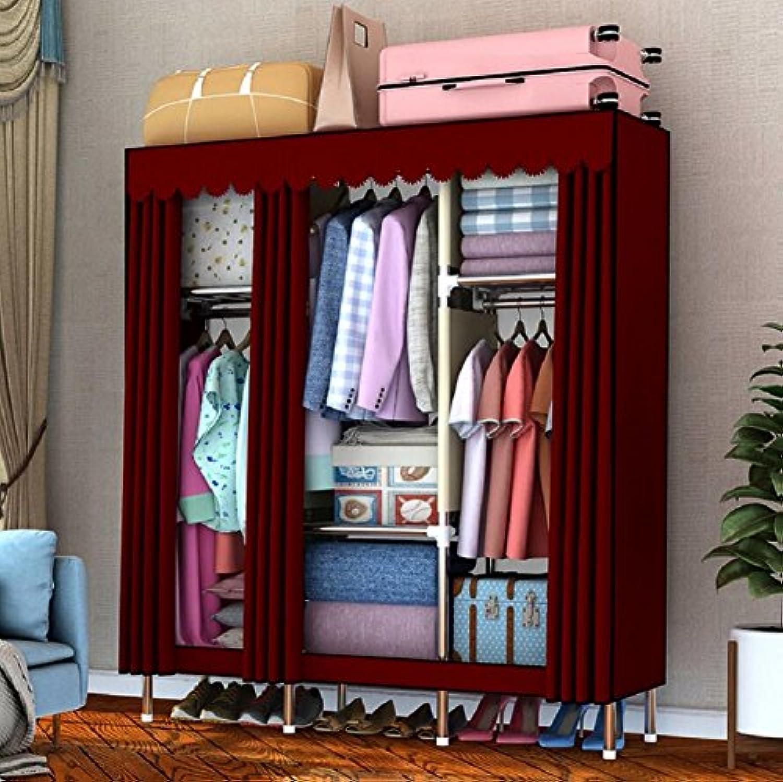 LJ & Lホーム寝室ポータブル布ワードローブ、スケルトンステンレススチール、ナイロンファブリック、密封設計防塵湿気 51*67*18inch 9887194288244