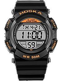 HOSKA かわいい デジタル 腕時計 キッズ ガールズ ボーイズ 多機能 子供 スポーツウォッチ (オレンジ)