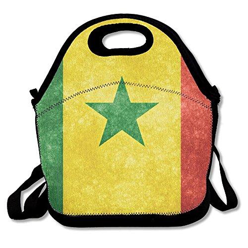 ランチバッグ 弁当袋 セネガル国旗 超軽量 バッグ 肩掛け 3way 伸縮性 Black One Size