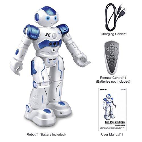Kuman ロボット おもちゃ プログラム可能 知能人型ロボット リモートコントロール ラジコン 音楽ダンス 手振り感応 小学生 二足歩行 子供 KR2