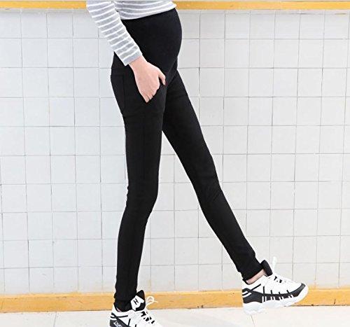 マタニティ スキニー パンツ ストレッチ の効いて細く見えるラクラク ズボン (L, 黒)
