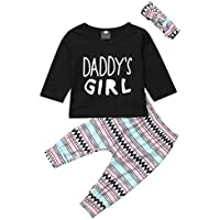 Infant Baby Girls Long Sleeve Daddy's Girl T Shirts Tops Long Pants Toddler Girls Outfit