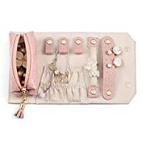 Vlando Small旅行ジュエリーロールバッグオーガナイザー、スマートサイズ& Light weight For Daily Jewelries、ピンク