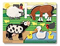 Melissa & Doug Farm Animals Touch and Feel Textured Wooden Puzzle [並行輸入品]