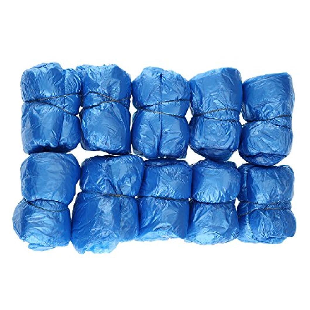 無礼に道路を作るプロセス視聴者100枚入 使い捨て靴カバー シューズカバー 靴カバー サイズフリー簡単 便利 衛生 家庭用品 ブルー