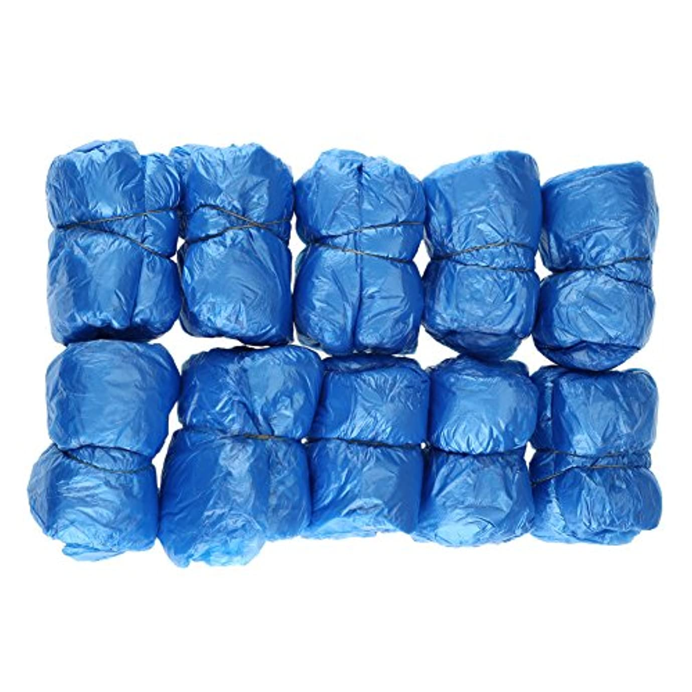断片バイオリニスト怠な100枚入 使い捨て靴カバー シューズカバー 靴カバー サイズフリー簡単 便利 衛生 家庭用品 ブルー