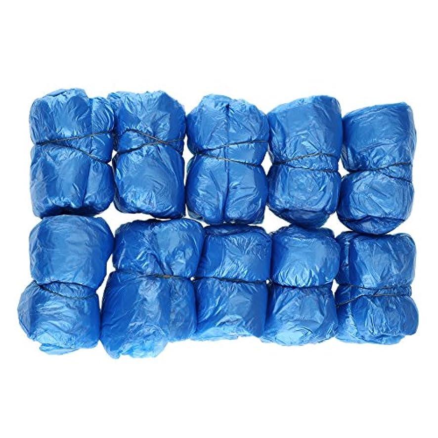 付属品プット巨大な100枚入 使い捨て靴カバー シューズカバー 靴カバー サイズフリー簡単 便利 衛生 家庭用品 ブルー