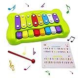 Wishtime ベビーシロフォン 鉄琴 2in1 ピアノ&シロホン 6ヶ月頃~幼児 シロフォン おもちゃ【バチ 楽譜付き】