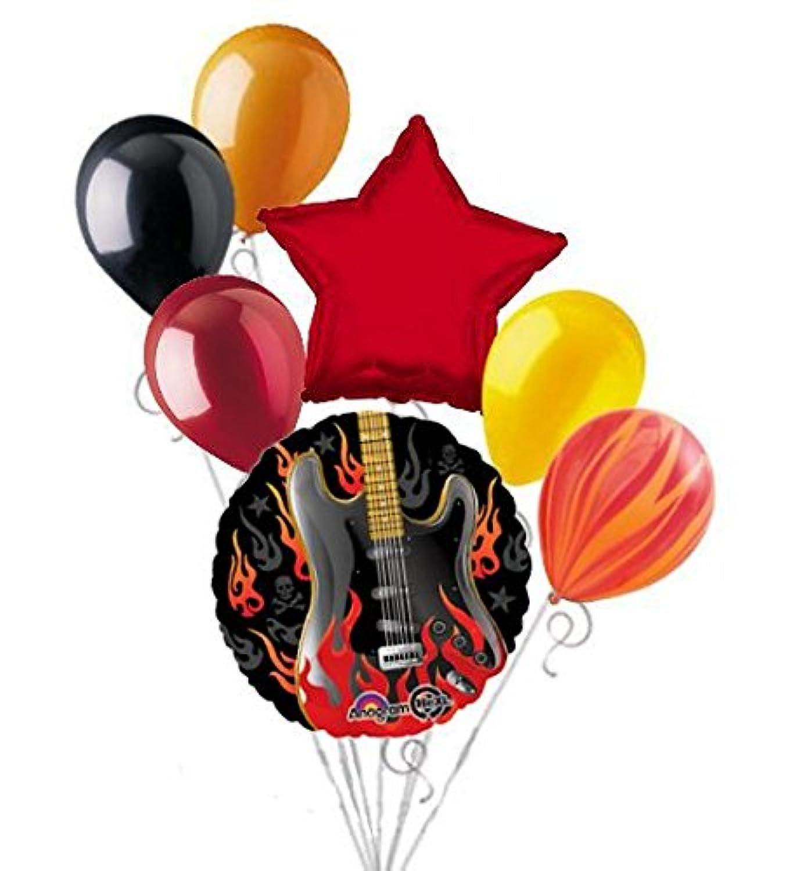 7 PC Rockstar Rock On Happy誕生日バルーンブーケFlamingエレキギター