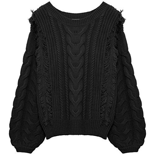 ReEDIT(リエディ)ニット トップス フリンジ ケーブル編み ロングスリーブ ゆったり クルーネック ロングスリーブ M(003) ブラック(001)