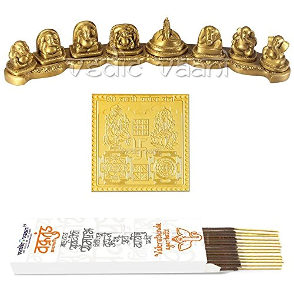 抑制美的問い合わせるAshtavinayak Ganpati Bappa Idol In Brass WithヤントラとVakratund Incense Sticks – Vedic Vaani