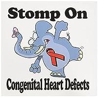 ドゥーニデザインズ意識リボンデザイン–Elephant Stomp on Congenitalハート欠陥意識リボン原因デザイン–グリーティングカード Set of 12 Greeting Cards
