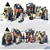 10PCS Christmas Ornament Set, Christmas Doll Hut Doll House Village Santa Claus Decoration Children Gift Set