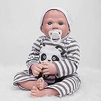 Lifelikeシリコン赤ちゃん人形22インチRebornベビー人形磁気口新生児Boy Toy withパンダロンパースキッズ誕生日クリスマスギフト