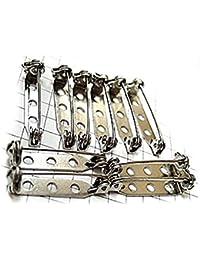 ハンドメイド部品 ブローチ 製作用の ピン 針 10本セット 長さ25ミリ 回転式 シルバー銀色