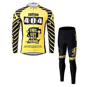 Thriller Rider Sports サイクルジャージ メンズ 男性自転車運動服装長袖 + ズボン セット スーツ Error 404 2X-Large