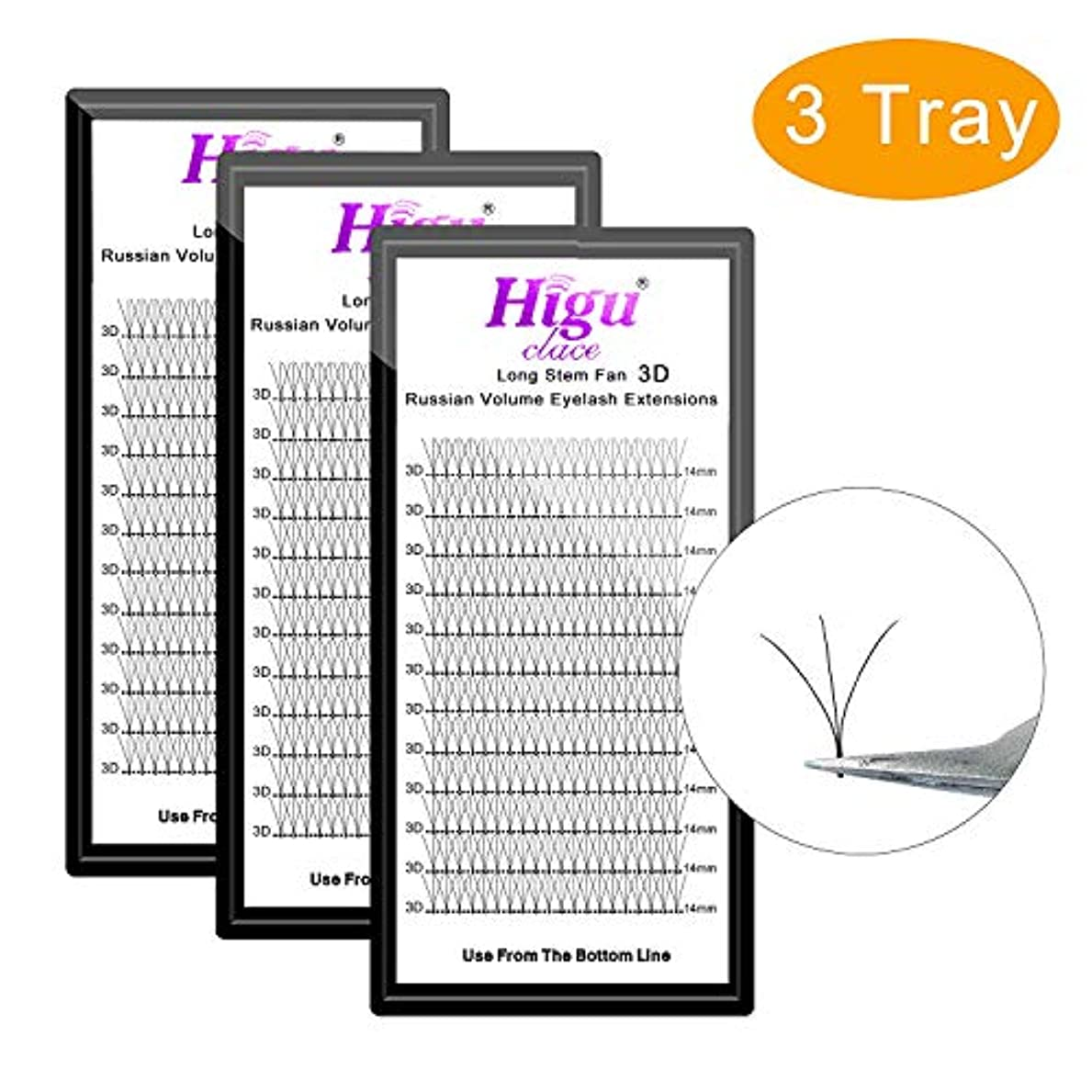 黒くする自分の明るくする3 Tray 3D C 12mm+12mm+12mm Long Stem Fans