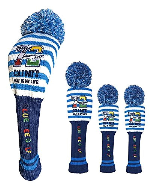 ブルーティーゴルフ BLUE TEE GOLF California 【カルフォルニアストライプ GOLF DAY'S】 3本セット:A ニット ヘッドカバー