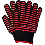 LavaLock® BBQ Grilling Cooking Heat Resistant Gloves with Silicone Insulated Protection - High Temp Charcoal BBQ Gloves for Kettle, Kamado, BGE, Uds and Offset Cookers Large Size