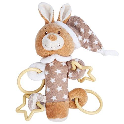 【Ani Mam Kids】ベビー用 かわいい 動物 ふわふわ にぎにぎ 音が鳴る 知育玩具 ナイトウェア着用 アニマル (うさぎちゃん)
