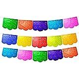 フィエスタブランド5パック。Mexican Papel Picadoバナー。Colores de Primavera。Over最大75フィートでカバー。Vibrant Colors Tissue Paper。Mediumサイズパネル。マルチカラー花デザイン
