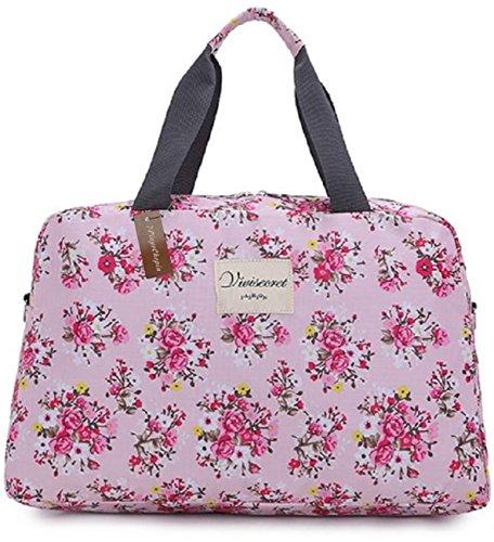 (プレイズショパン) ボストン ショルダー バッグ 花柄 レディース ナイロン トラベル 旅行 大容量 (L:50×19×33, ピンク)