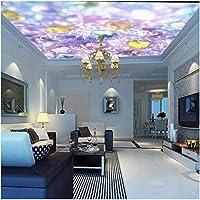 Mingld 写真の壁紙カスタム美しい紫クリスタルダイヤモンド宝石天井壁画寝室ホテル屋根装飾壁紙-400X280Cm
