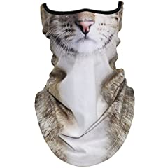 WTACTFUL動物柄 フェイスマスク アニマル 耳付き フルフェイスマスク バラクラバ 目出し帽 バイク、登山、スキー、ランニング、ハイキング、レーシングカー、サバイバルゲーム、キャンプ、音楽祭、レジャー、クリスマス、コスプレ ハロウィンパーティー、狩りなど様々な用途に合わせ 猫MBC-20