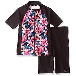 (ネネ)NeNe NENE袖付き花柄撥水フィットネスセパレーツ大きいサイズ水着 1051-604 131PNK ピンク 19LL