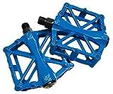 自転車 アルミ 軽量 フラット ペダル 2個 セット マウンテン ロード クロス バイク パーツ (ブルー)