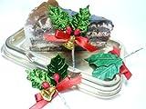 クリスマスケーキ ピック 飾り◆FX-6 クリスマスベルがついた緑のヒイラギ(10本入)