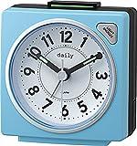 リズム時計 小さい 目覚まし 時計 アナログ デイリーRA27 連続秒針 ライト 付き カラフル で かわいい 時計 青 DAILY ( デイリー ) 8REA27DN04