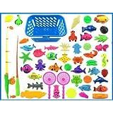 みんなで ワイワイ さかなつりゲーム 釣り遊び 夏にぴったり 磁石 マグネット フィッシング ゲーム プールつきさかなつり 知育玩具 50PCS お風呂でもおすすめです