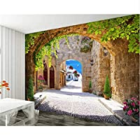 Ansyny モダンなリビングルームの寝室の壁の3D壁紙ヨーロッパの3DアーチSeascapeストリートグリーンリーフ写真3Dの壁紙壁画-160X120CM