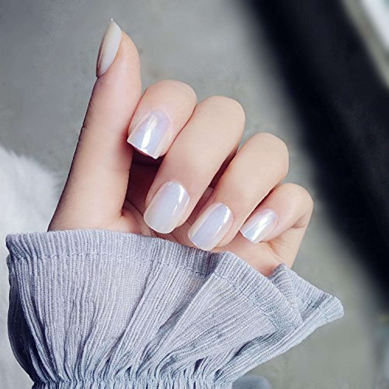 遡るお客様とても多くの超薄型ネイル 手作りネイルチップ 新製品 真珠の光沢 ショート型ネイル つけ爪 24枚組 超薄型ネイル