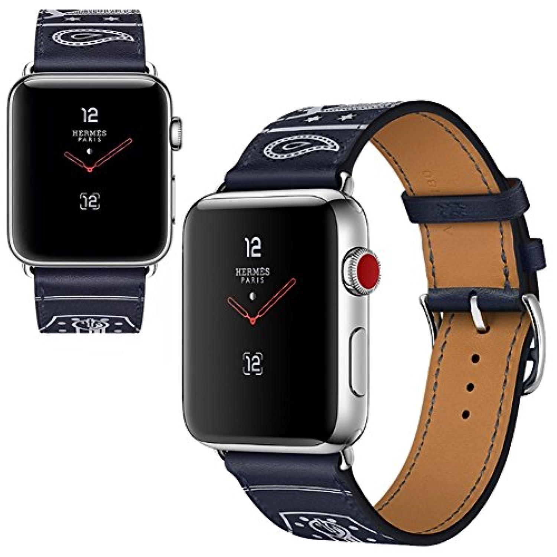 Vicstar Apple watch Series 3 38mm ベルト 交換バンド Apple watch 3 ベルト 高級レザー 本革バンド 金属クラスプ付き 上品 柔らか ビジネス風 脱着簡単 ブラック