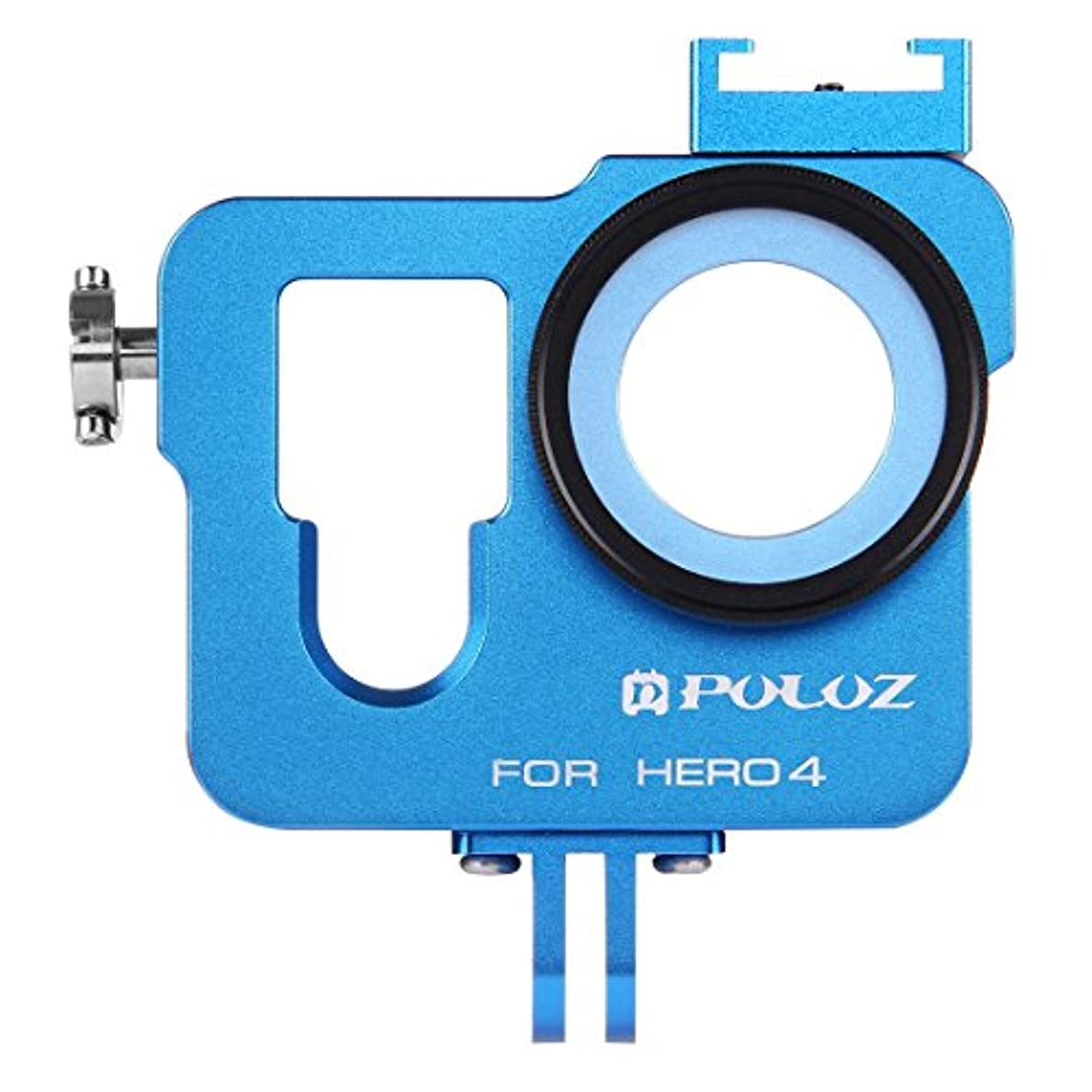 圧縮するインストラクター溶岩RAOFEIJP カメラ保護ケース 耐衝撃保護ケース ハウジングシェル37mm UVレンズフィルター&レンズキャップ付きCNCアルミニウム合金保護ケージ、GoPro HERO4 (色 : Blue)