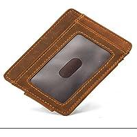 多機能革ボタンカード財布名刺ホルダー、黄褐色