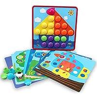 知育玩具 子供用3Dパズル玩具 カラーボタンアセンブリ きのこネイルキット 合成写真 パズルボード