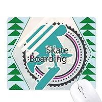 スポーツのスノーボード選手のイラスト オフィスグリーン松のゴムマウスパッド