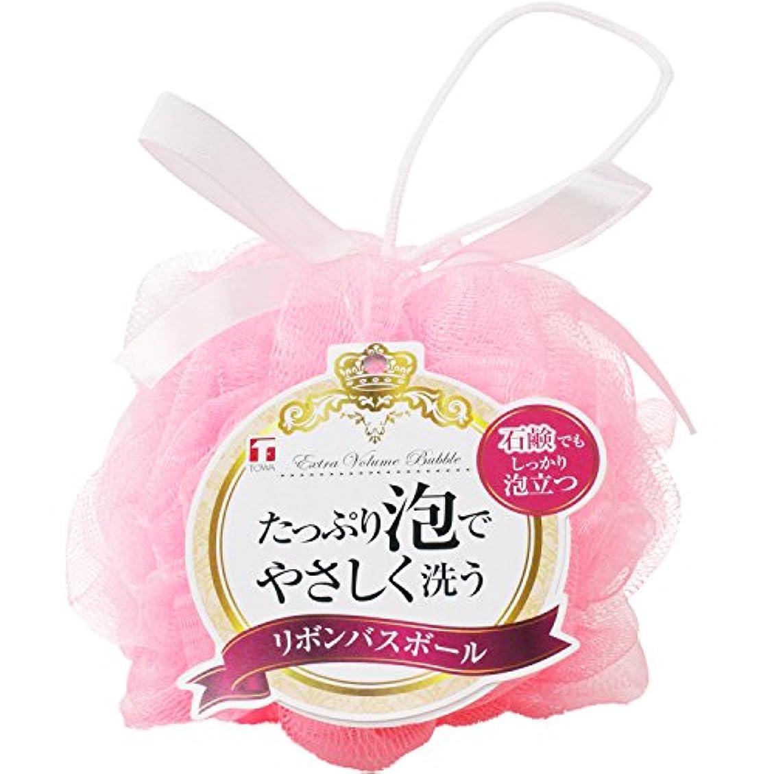 メンター流通貨東和産業 泡立てネット リボン バスボール ピンク 直径約14cm