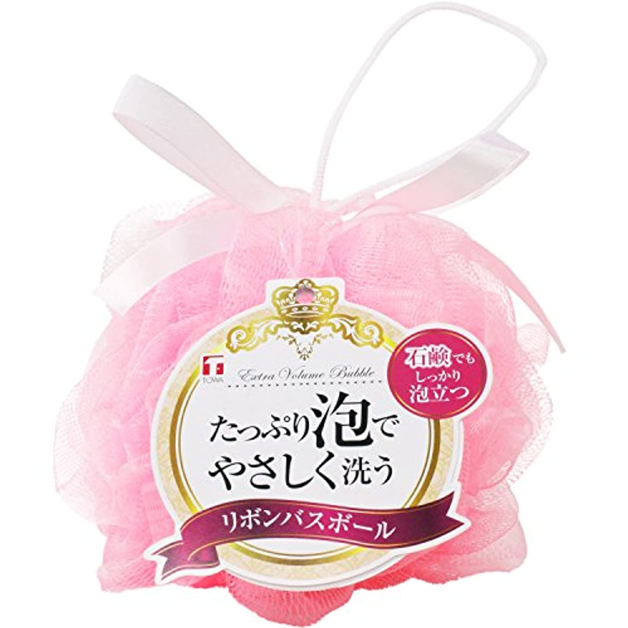 誘惑する危険な移行する東和産業 泡立てネット リボン バスボール ピンク 直径約14cm