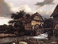 手描き-キャンバスの油絵 - Two Water Mills And Open Sluice Jacob Isaakszoon van Ruisdael 芸術 作品 洋画 ウォールアートデコレーション -サイズ11