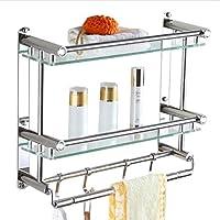 バスルームタオルラックバスルーム棚ステンレス鋼のガラスの格子のハードウェアバスルームのペンダント壁掛け/バスルーム (サイズ さいず : 40 * 38cm)