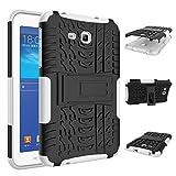 Coozon TPU/PC二層構造 カバー 耐摩擦 耐汚れ 滑り防止技術 全面保護 対応機種 Samsung Galaxy Tab 3 Lite SM-T110 (7.0 インチ) ホワイト
