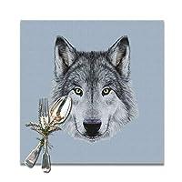 食卓マットFunny Wolf 12x12 Inチェック柄 布 食卓マット 6枚セット 丸洗いOK お手入れ 和風 撥水 防汚 断熱 丸洗いOK お手入れ簡単 食卓飾り 雰囲気レストラン用 ランチョンマット