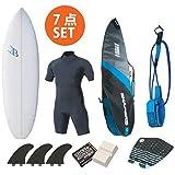ショートボード おまかせフルセットB Blue Surfboard SDJ ウェットスプリングスーツ フィン デッキパッド ボードケース リーシュコード ワックス 6'0 Lサイズ