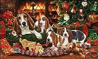 かわいいバセット ハウンド Basset Hound の クリスマスカード☆プレゼントにも!