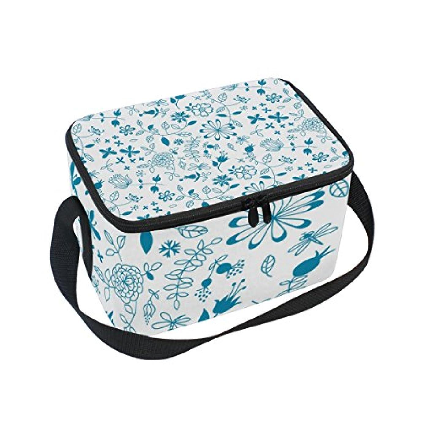 報奨金かもめ異常クーラーバッグ クーラーボックス ソフトクーラ 冷蔵ボックス キャンプ用品  花柄 青 保冷保温 大容量 肩掛け お花見 アウトドア