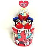 a19 おむつケーキ2段 男女共用 ミッキーマウスのスタイ&ベビーソックス ディズニー オムツケーキ出産祝い